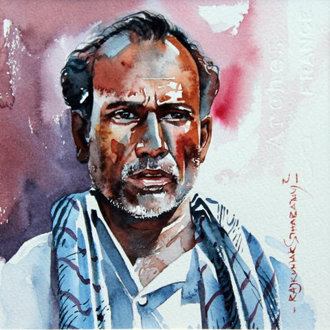 Portrait Series 75|R. Rajkumar Sthabathy- Water Color on Paper, 2012, 7 x 7 inches