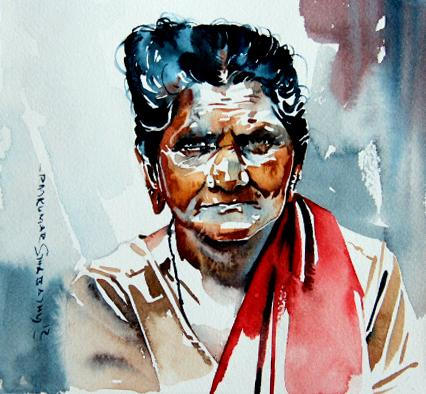 Portrait Series 76|R. Rajkumar Sthabathy- Water Color on Paper, 2012, 7 x 7 inches