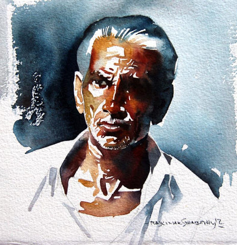 Portrait Series 78|R. Rajkumar Sthabathy- Water Color on Paper, 2012, 7 x 7 inches