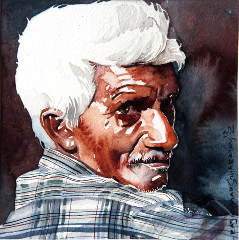 Portrait Series 79|R. Rajkumar Sthabathy- Water Color on Paper, 2012, 7 x 7 inches