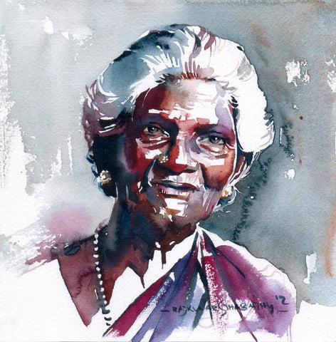 Portrait Series 80|R. Rajkumar Sthabathy- Water Color on Paper, 2012, 7 x 7 inches