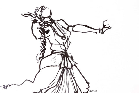 Performer 272|S. Mark Rathinaraj- Pen and Ink on Paper, , 8.5 x 5.5 inches