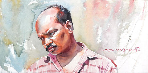 Portrait Series 121|R. Rajkumar Sthabathy- Water Color on Paper, 2012, 7.5 x 15 inches