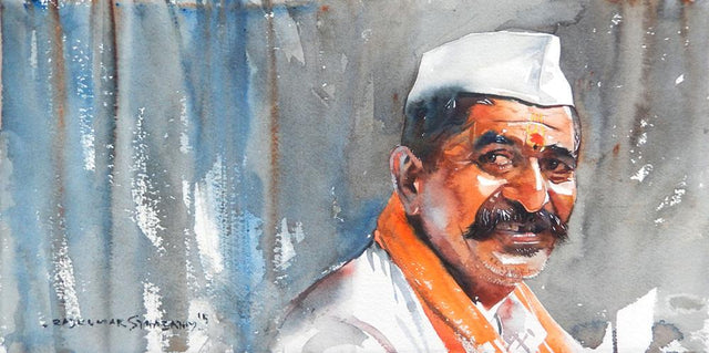 Portrait Series 122|R. Rajkumar Sthabathy- Water Color on Paper, 2012, 7.5 x 15 inches