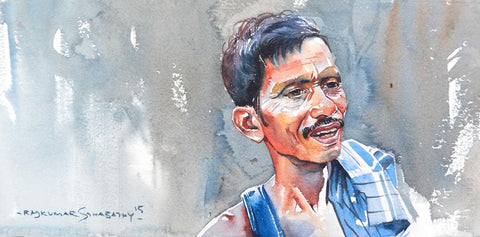 Portrait Series 124|R. Rajkumar Sthabathy- Water Color on Paper, 2012, 7.5 x 15 inches