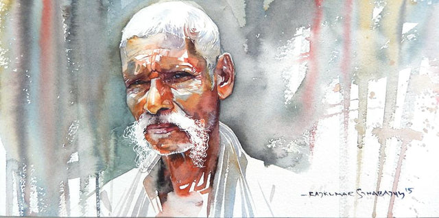 Portrait Series 125|R. Rajkumar Sthabathy- Water Color on Paper, 2012, 7.5 x 15 inches