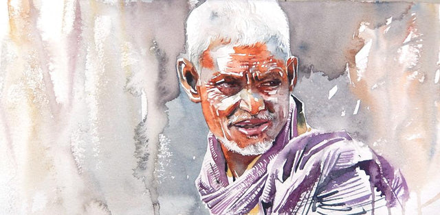 Portrait Series 127|R. Rajkumar Sthabathy- Water Color on Paper, 2012, 7.5 x 15 inches