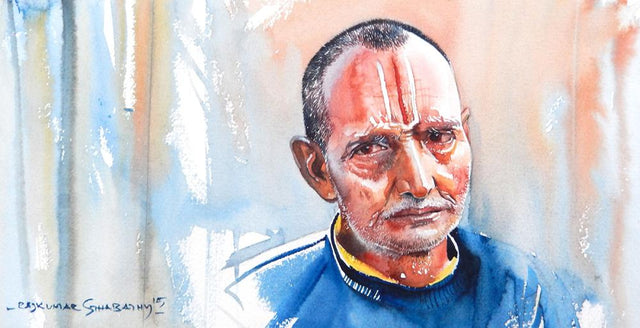 Portrait Series 128|R. Rajkumar Sthabathy- Water Color on Paper, 2012, 7.5 x 15 inches