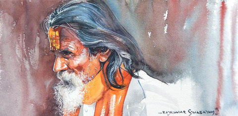 Portrait Series 129|R. Rajkumar Sthabathy- Water Color on Paper, 2012, 7.5 x 15 inches