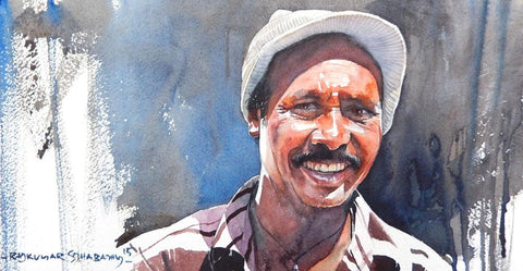 Portrait Series 130|R. Rajkumar Sthabathy- Water Color on Paper, 2012, 7.5 x 15 inches