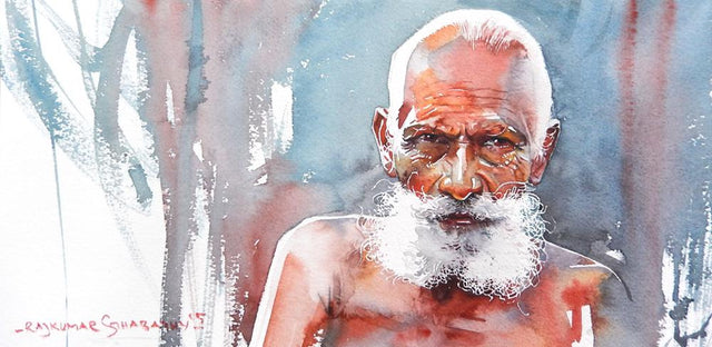 Portrait Series 131|R. Rajkumar Sthabathy- Water Color on Paper, 2012, 7.5 x 15 inches