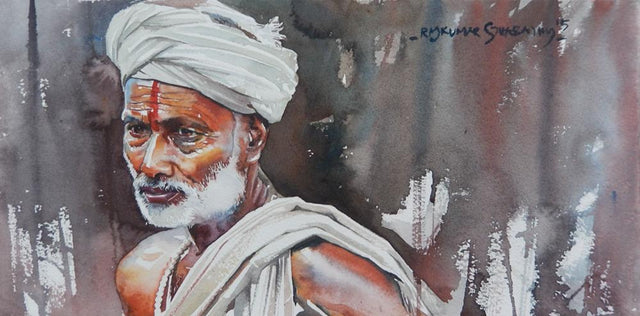Portrait Series 132|R. Rajkumar Sthabathy- Water Color on Paper, 2012, 7.5 x 15 inches