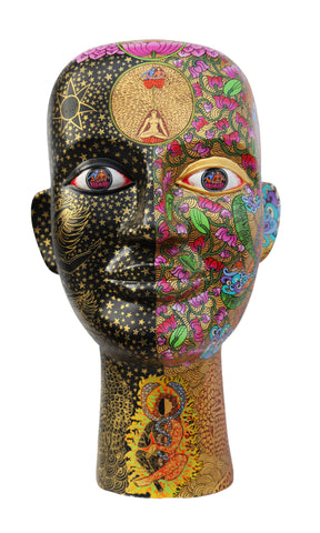 Dhyana|Seema Kohli- Acrylic colors on fiberglass sculpture, 2020, 7 x 16 x 6 inches
