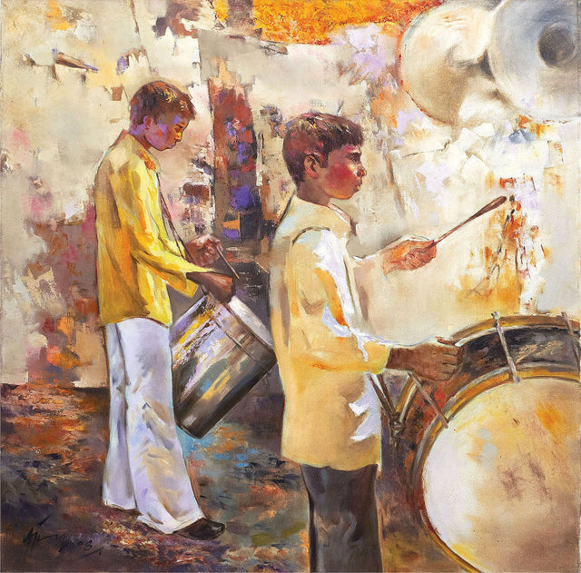 Drummer 12|Ajay Deshpande- Oil on Canvas, 2008, 36 x 36 inches
