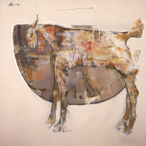 The wild goat 2|Ajay Deshpande- Oil on Canvas, 2011, 48 x 48 inches