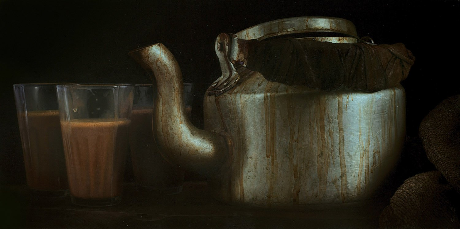 Still Life 13|B. Venkatesan- Oil on Canvas, 2018, 24 x 48 inches