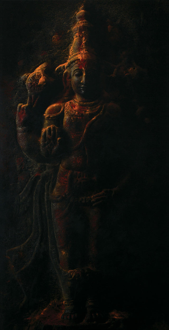 Temple Series IV|B. Venkatesan- Oil on Canvas, 2018, 60 x 30 inches