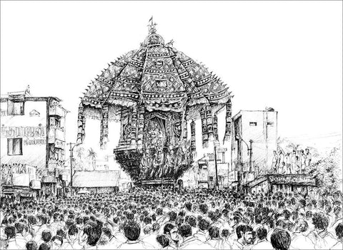 Festival 1 (Thiruvarur Ther)|Dhanraju Swaminathan- Pen Drawing on Canson Board, 2016, 11 x 16 inches