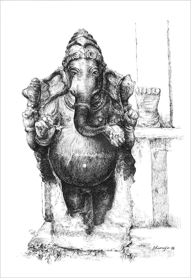 Ganapathi 1|Dhanraju Swaminathan- Pen Drawing on Canson board, 2016, 12.5 x 8.5 inches