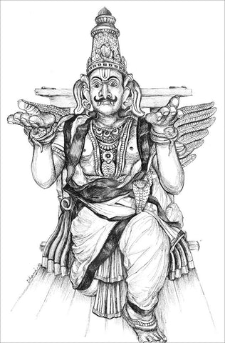Temple Vahanas 1 (Garuda)|Dhanraju Swaminathan- Pen Drawing on Canson Board, 2016, 12.5 x 8 inches