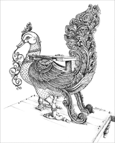 Temple Vahanas 2 (Swan)|Dhanraju Swaminathan- Pen Drawing on Canson Board, 2016, 12 x 9.5 inches