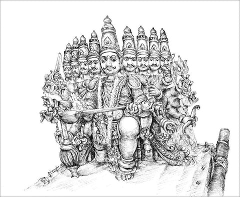 Temple Vahanas 3 (Ravana)|Dhanraju Swaminathan- Pen Drawing on Canson Board, 2016, 12.5 x 8.5 inches