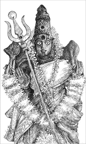 Village Deities 5 (Amman)|Dhanraju Swaminathan- Pen Drawing on Canson Board, 2016, 9.5 x 5.5 inches