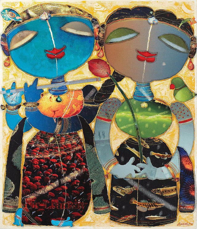 Radha Krishnan|G. Subramanian- Mixed Media on Canvas, 2017, 22 x 18 inches