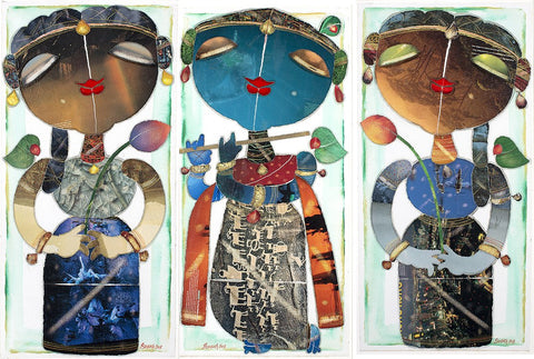 Krishna with Bhama Rukhmini(set of three)|G. Subramanian- Mixed Media on Canvas, 2012, 31 x 16 inches