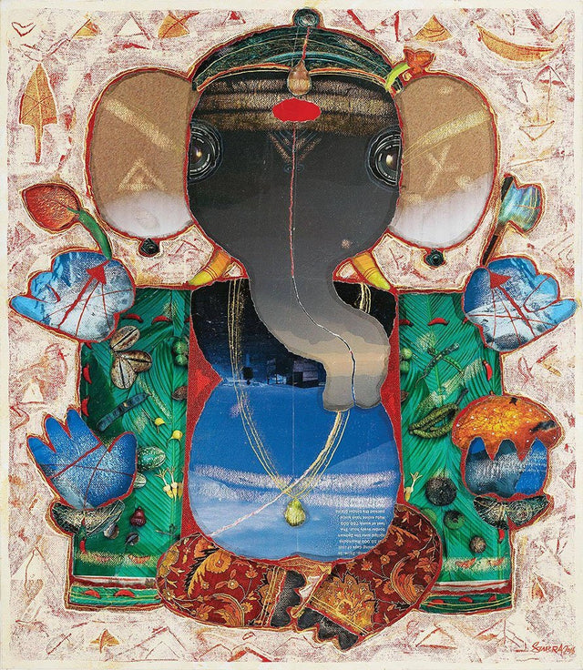 Ganesha|G. Subramanian- Mixed Media on Canvas, 2016, 22 x 18 inches