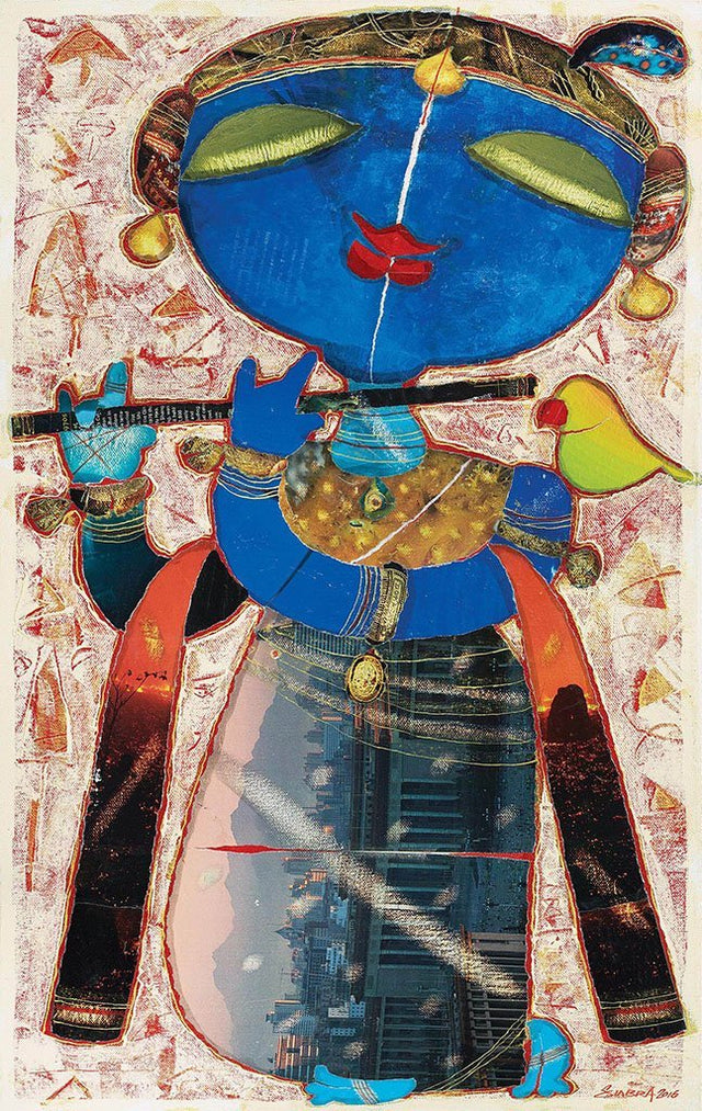 Krishna|G. Subramanian- Mixed Media on Canvas, 2017, 26 x 15 inches