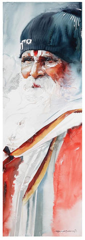 Kumbhmela Series 16|R. Rajkumar Sthabathy- Water Color on Paper, 2013, 45 x 15 inches