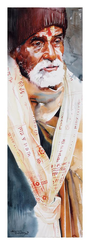 Kumbhmela Series 18|R. Rajkumar Sthabathy- Water Color on Paper, 2013, 45 x 15 inches