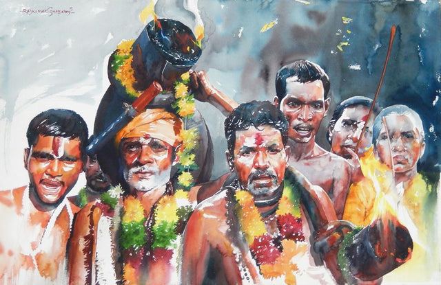 Kumbhmela Series 25|R. Rajkumar Sthabathy- Water Color on Paper, 2013, 26 x 40 inches