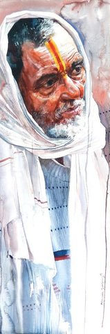 Kumbhmela Series 26|R. Rajkumar Sthabathy- Water Color on Paper, 2013, 45 x 15 inches