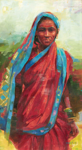 A Lady|Manjiri More- Oil on Canvas, 2013, 36 x 18 inches