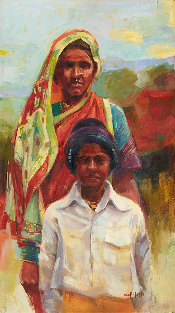 Ankho Ka tara  Lady with her son|Manjiri More- Oil on Canvas, 2013, 36 x 20 inches