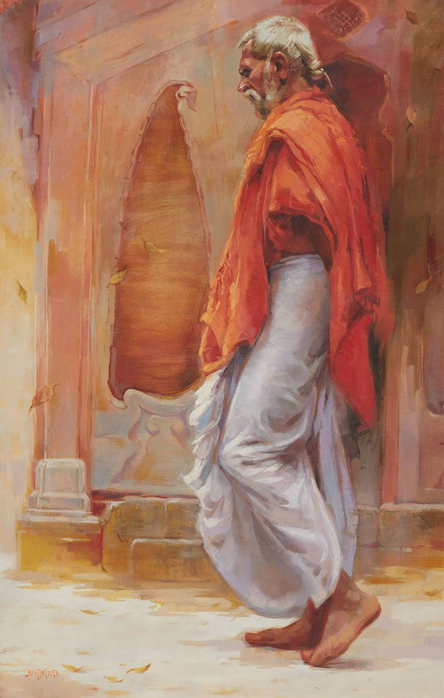 Pujari 1|Manjiri More- Oil on Canvas, 2013, 40 x 26 inches