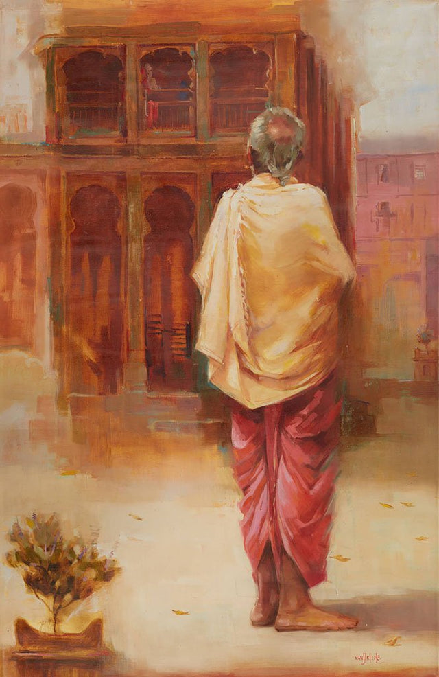 Pujari 2|Manjiri More- Oil on Canvas, 2013, 40 x 26 inches
