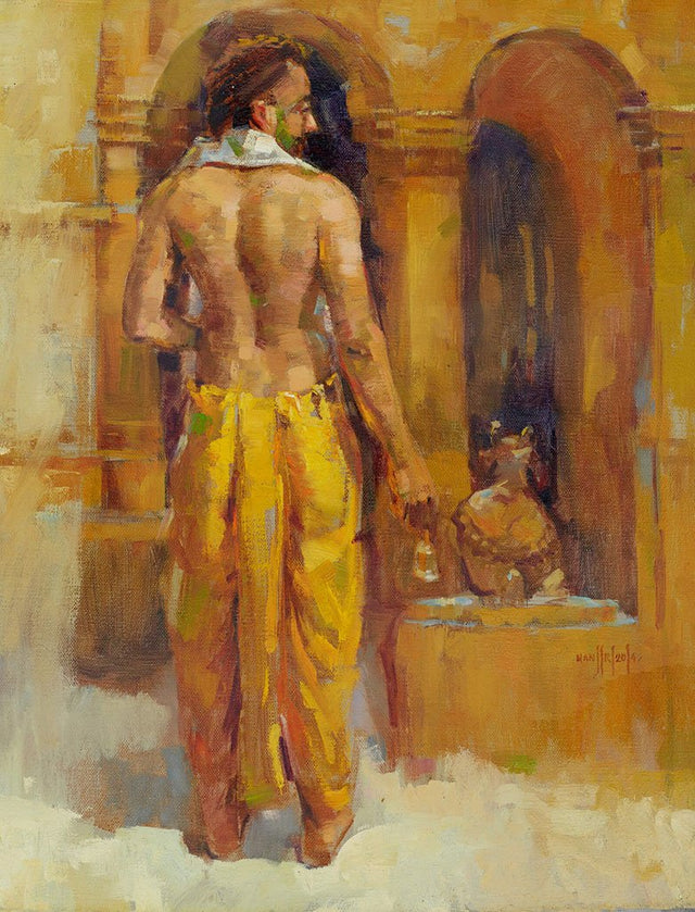 Pujari 4|Manjiri More- Oil on Canvas, 2014, 20 x 16 inches