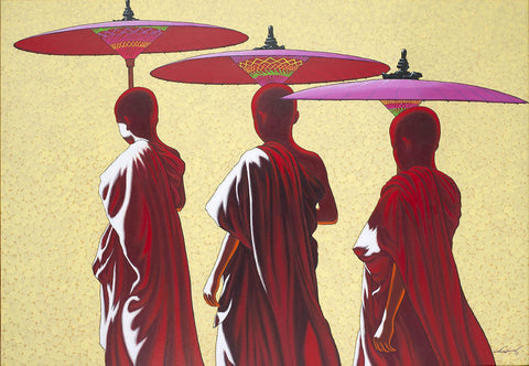 Towards Monastery 4|Min Wae Aung- Acrylic on Canvas, 2019, 37 x 51 inches