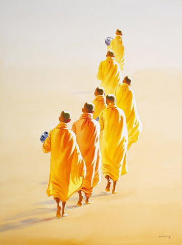 Novices on the morning round|Min Wae Aung- Watercolor on Paper, 2017, 30 x 22 inches