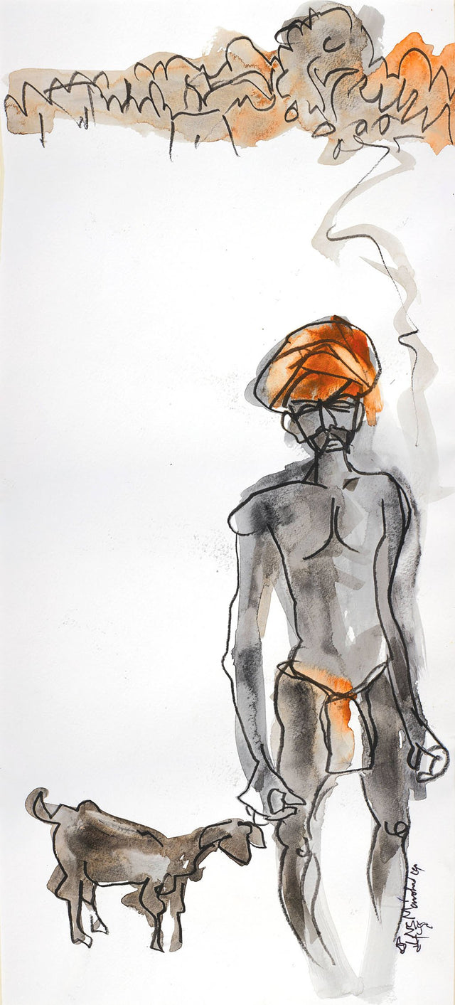 Pastoral Life 19|N.S. Manohar- Water color on board, 2015, 21 x 9.5 inches