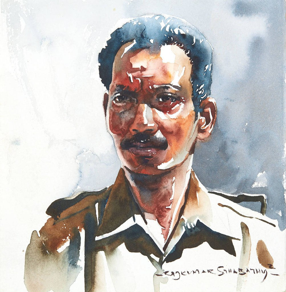 Portrait Series 82|R. Rajkumar Sthabathy- Water Color on Paper, 2012, 7 x 7 inches