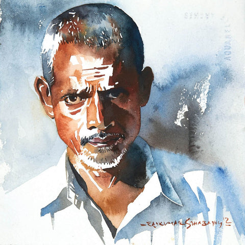 Portrait Series 83|R. Rajkumar Sthabathy- Water Color on Paper, 2012, 7 x 7 inches