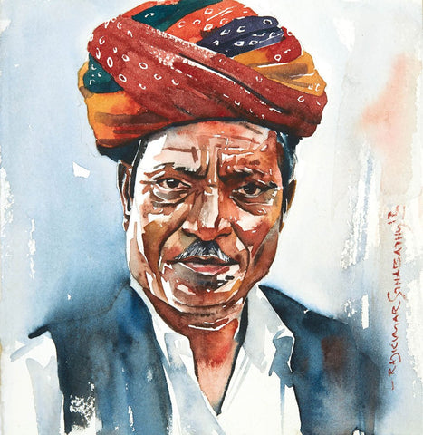 Portrait Series 86|R. Rajkumar Sthabathy- Water Color on Paper, 2012, 7 x 7 inches