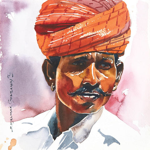 Portrait Series 87|R. Rajkumar Sthabathy- Water Color on Paper, 2012, 7 x 7 inches