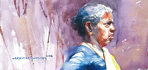 Portrait Series 93|R. Rajkumar Sthabathy- Water Color on Paper, 2016, 7.5 x 15 inches