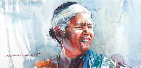 Portrait Series 94|R. Rajkumar Sthabathy- Water Color on Paper, 2016, 7.5 x 15 inches