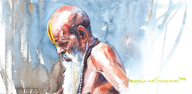 Portrait Series 96|R. Rajkumar Sthabathy- Water Color on Paper, 2016, 7.5 x 15 inches